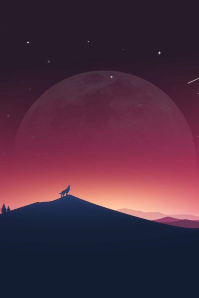 Wolf Howling to Moon Minimal 4K Wallpaper - Best Wallpapers