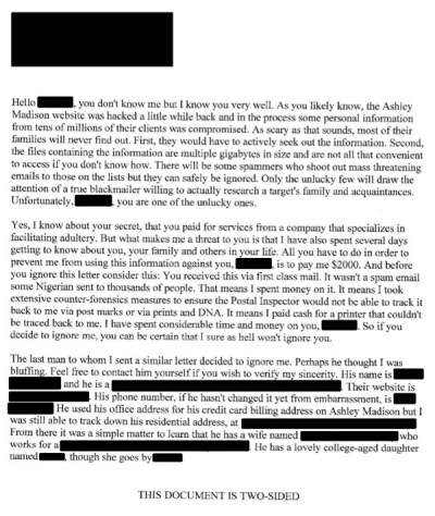 Would you pay up if you received an Ashley Madison blackmail letter like THIS?