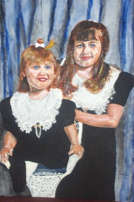 Original acrylic. 16x20 canvas. A portrait of Natasha and Angelica, our daughter's children.