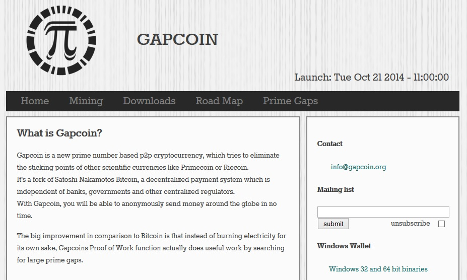 Gapcoin Screenshot
