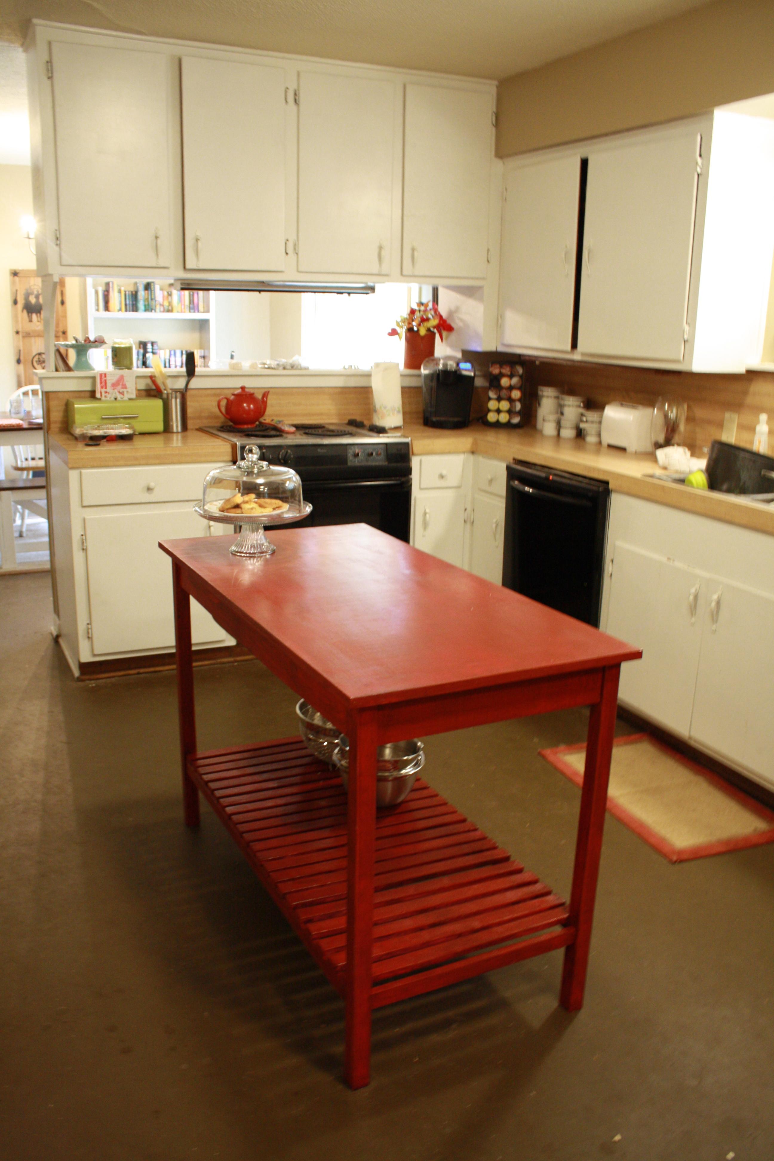 diy kitchen islands diy kitchen ideas Red slatted bottom DIY kitchen island
