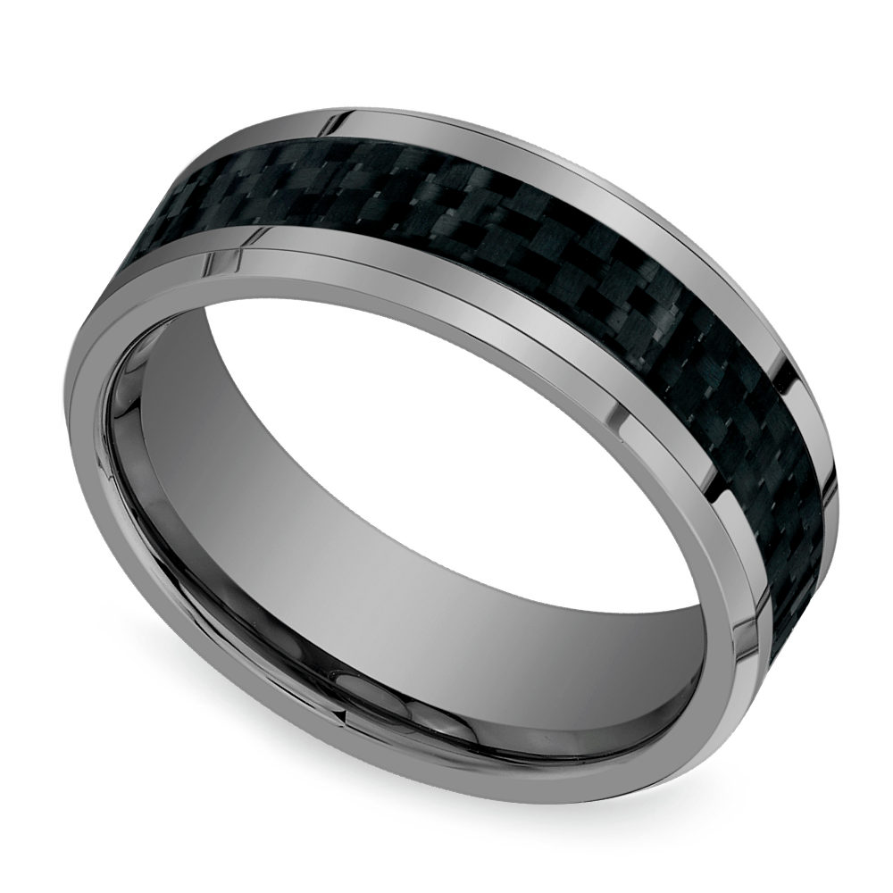 hot or not mens tungsten wedding rings tungsten hammered wedding band pasted image 1 Beveled Carbon Fiber Inlay Men s Wedding Ring