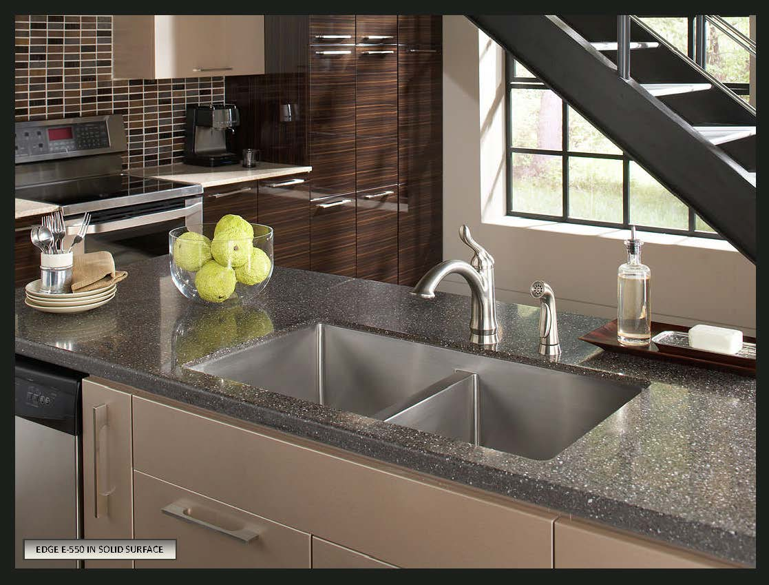 choose sink solid surface countertops stainless kitchen sinks Karran Stainless Steel Seamless Undermount Double Kitchen Sink