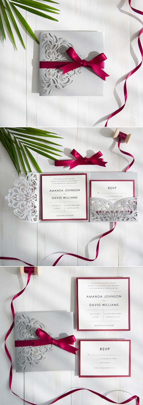 Wedding Stationery() burgundy wedding invitations View cart