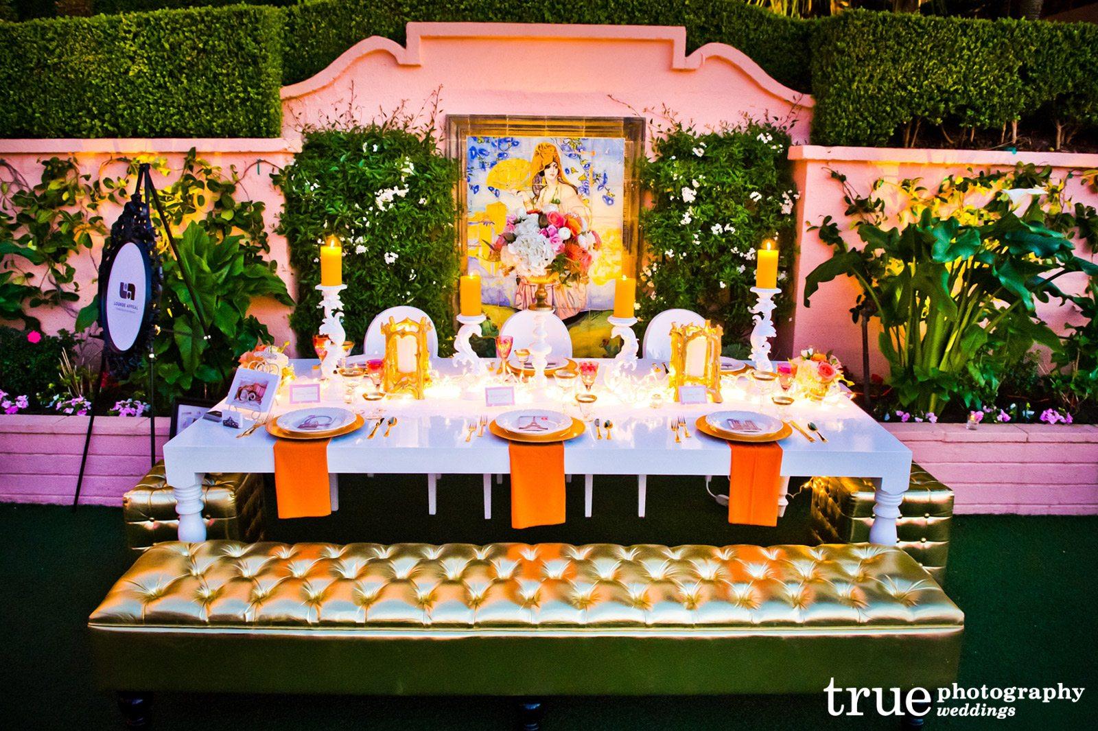 mod wedding decor lounge appeal furniture rentals wedding rental Gold Bench San Diego Wedding Furniture Rental Lounge Appeal