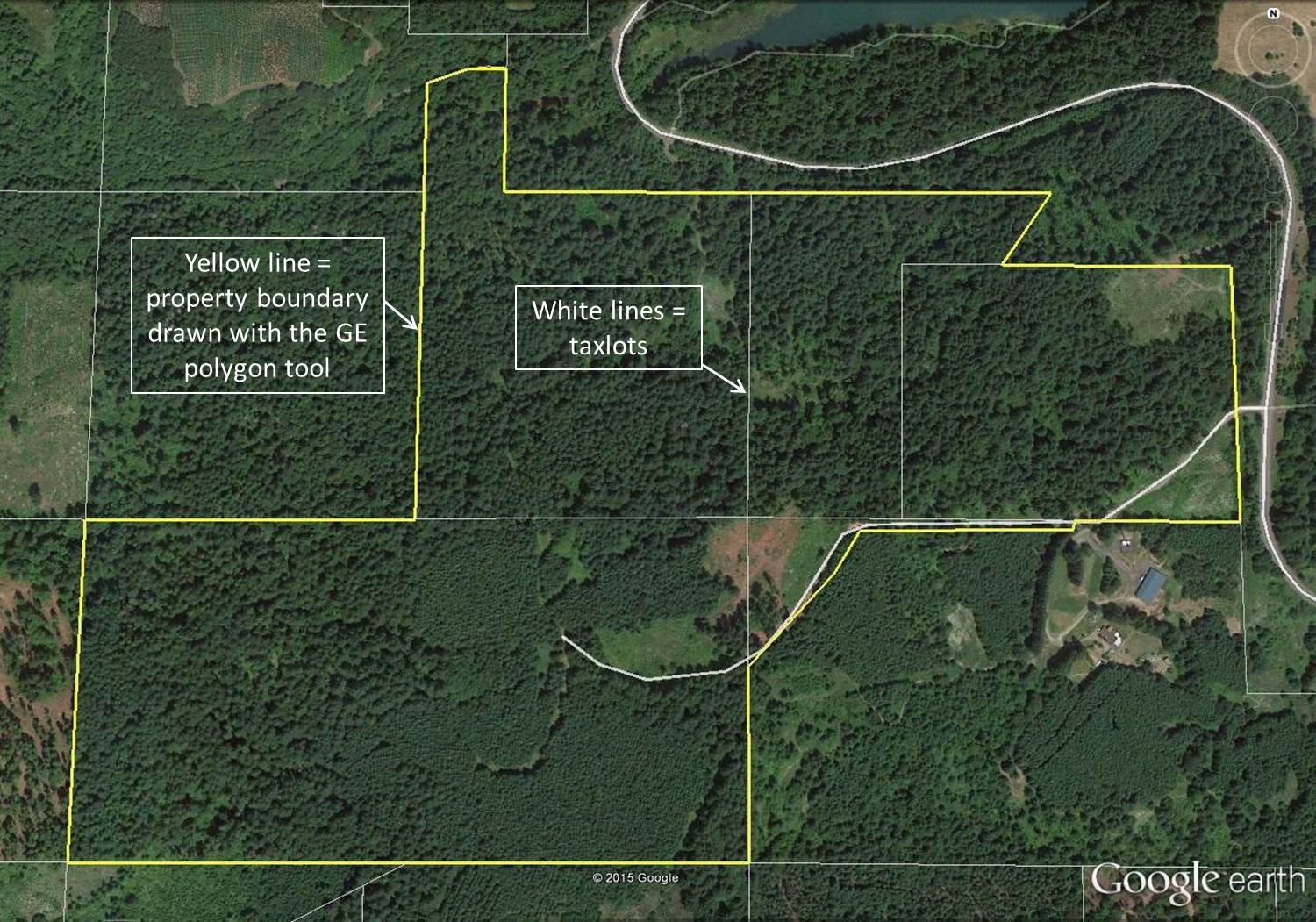 Mapping your forest with Google Earth and a GPS phone app   TreeTopics Yellow polygon approximates the property boundary  Google Earth Pro