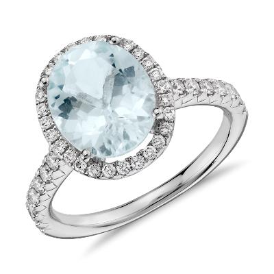 aquamarine diamond 18k white gold ring aquamarine wedding rings Aquamarine and Diamond Ring in 18k White Gold mm