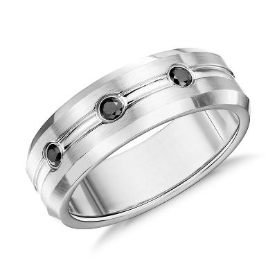 black diamond matte wedding ring cobalt cobalt wedding bands Matte Black Diamond Wedding Ring in Cobalt 7 5mm