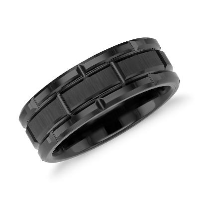 black tungsten carbide wedding ring tungsten hammered wedding band Link Wedding Band in Black Tungsten Carbide 8mm