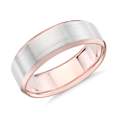 brushed beveled wedding ring white rose gold rose gold wedding rings Brushed Beveled Edge Wedding Ring in 14k White and Rose Gold 7mm