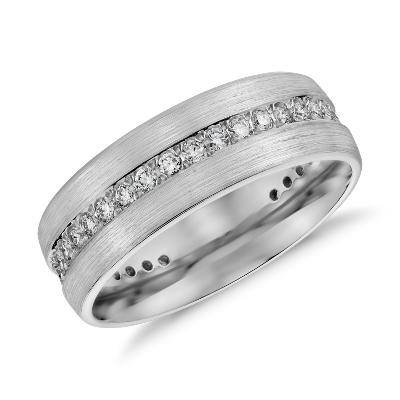 brushed diamond14k white gold eternity wedding ring infinity diamond wedding band Brushed Diamond Eternity Men s Wedding Ring in 14k White Gold 1 2 ct