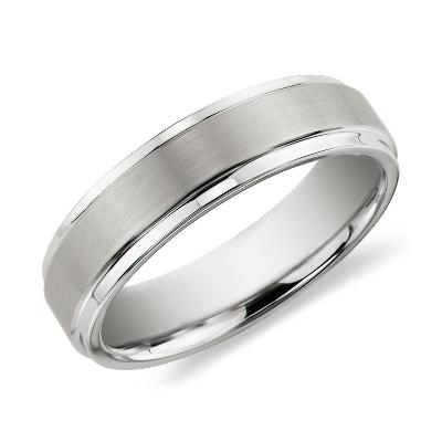 brushed polished comfort wedding ring black tungsten tungsten wedding ring Brushed and Polished Comfort Fit Wedding Ring in Black Tungsten Carbide 6mm