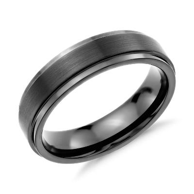 brushed polished comfort wedding ring black tungsten cobalt wedding bands Brushed and Polished Comfort Fit Wedding Ring in Black Tungsten Carbide 6mm