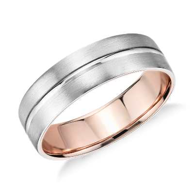 brushed wedding ring platinum 18k rose gold rose gold wedding rings Matte Inlay Wedding Ring in Platinum and 18k Rose Gold 6mm