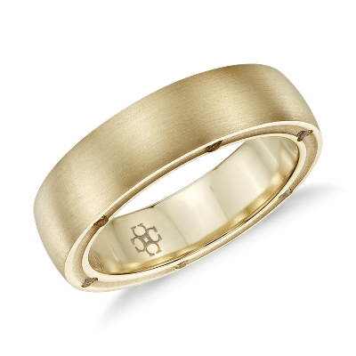 wedding rings mens unique wedding rings Colin Cowie Men s Brushed Diamond Wedding Ring in 18k Yellow Gold 6mm