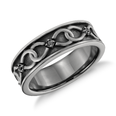 colin cowie infinity black rhodium diamond ring platinum infinity wedding band Colin Cowie Black Diamond Infinity Wedding Ring in Platinum with Black Rhodium 7mm