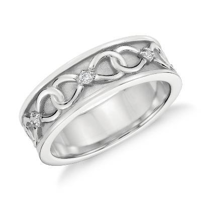 colin cowie mens diamond ring platinum infinity diamond wedding band Colin Cowie Diamond Infinity Wedding Ring in Platinum 7mm