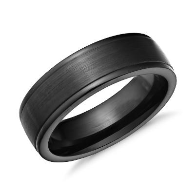 comfort fit blackened cobalt cobalt wedding bands Satin Finish Wedding Ring in Blackened Cobalt 7mm