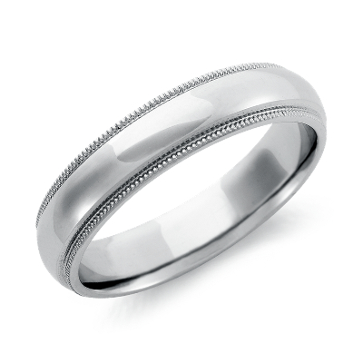 comfort fit palladium wedding ring palladium wedding bands Milgrain Comfort Fit Wedding Ring in Palladium 5mm