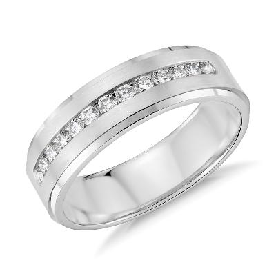 diamond channel set wedding ring white gold mens diamond wedding bands Diamond Channel Set Wedding Ring in 14k White Gold 1 3 ct tw