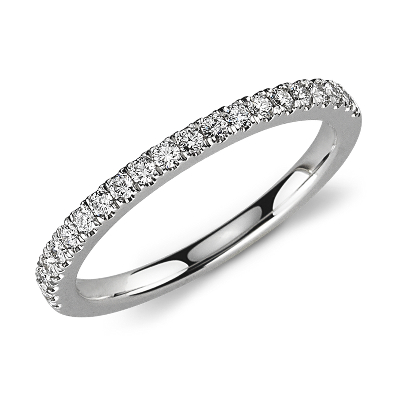 diamond ring platinum low profile wedding ring Petite Pav Diamond Ring in Platinum 1 3 ct tw