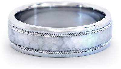 hammered milgrain comfort fit wedding ring platinum mens hammered wedding bands Hammered Milgrain Comfort Fit Wedding Ring in Platinum 6mm
