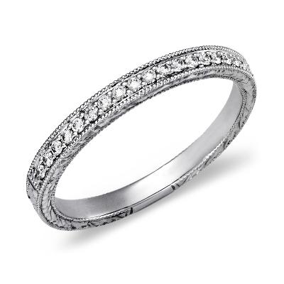 top ten womens wedding rings womens wedding band Hand Engraved Micropav Diamond Ring in 14k White Gold 1 5 ct tw
