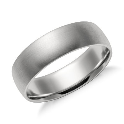 high dome wedding ring platinum 6 mm platinum wedding band Matte Mid weight Comfort Fit Wedding Band in Platinum 6mm