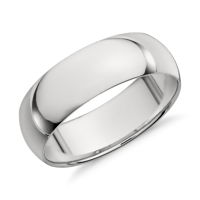 high dome wedding ring platinum 7 mm platinum wedding bands Mid weight Comfort Fit Wedding Band in Platinum 7mm