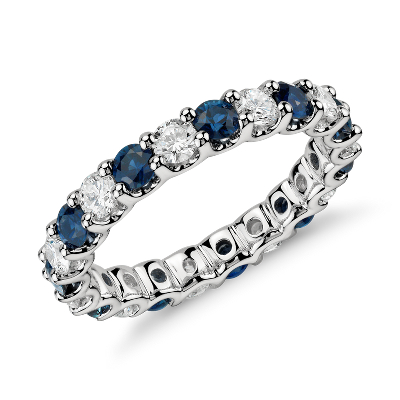 gemstone rings blue topaz wedding band Luna Sapphire and Diamond Eternity Ring in Platinum 1 ct tw