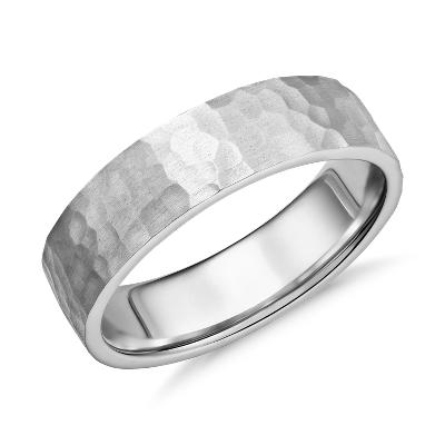 matte hammered platinum mens hammered wedding bands Matte Hammered Flat Comfort Fit Wedding Ring in Platinum 6mm