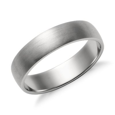 matte low dome wedding ring platinum 5 mm platinum wedding bands Matte Classic Wedding Ring in Platinum 5mm