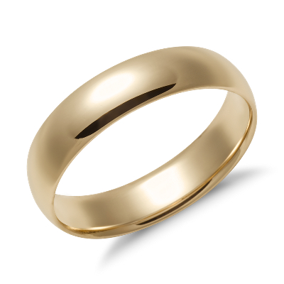 mens wedding rings male wedding bands Mid weight Comfort Fit Wedding Band in 14k Yellow Gold 5mm