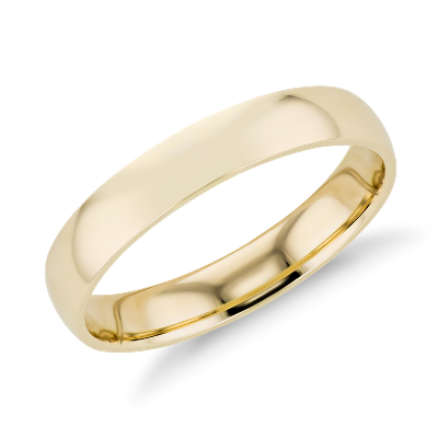 mens wedding rings wedding ring with band NEW Mid weight Comfort Fit Wedding Band in 14k Yellow Gold 4mm