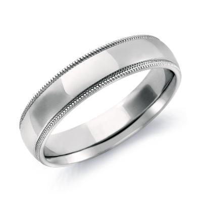 milgrain comfort fit ring 14k white gold milgrain wedding band Milgrain Comfort Fit Wedding Ring in 14k White Gold 5mm