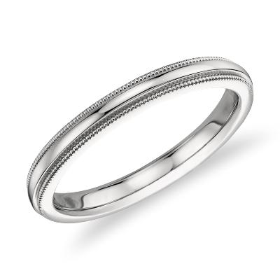 milgrain comfort fit ring platinum 2 milgrain wedding band Milgrain Comfort Fit Wedding Ring in Platinum 2 5mm