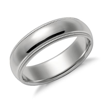 milgrain comfort fit ring platinum milgrain wedding band Milgrain Comfort Fit Wedding Ring in Platinum 6mm