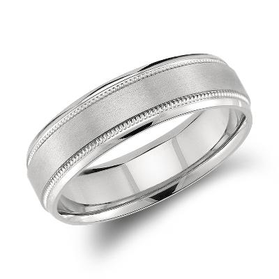 milgrain emery wedding ring palladium milgrain wedding band Milgrain Emery Wedding Ring in Palladium 6mm