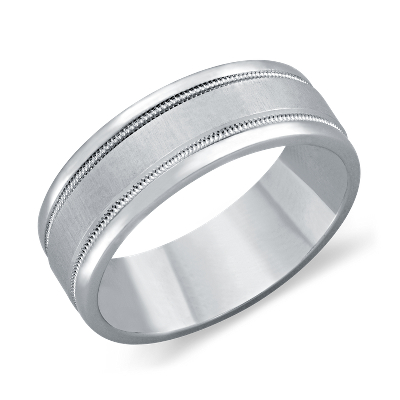 milgrain ring platinum male wedding bands Milgrain Wedding Ring in Platinum 7mm