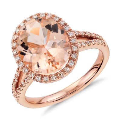 morganite diamond ring 14k rose gold morganite wedding ring set Morganite and Diamond Ring in 14k Rose Gold mm