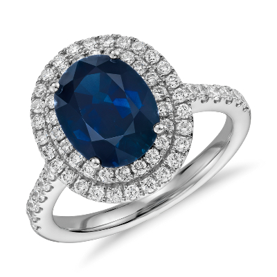 oval sapphire diamond double halo ring 18k white gold blue sapphire wedding rings Oval Sapphire and Diamond Double Halo Micropav Ring in 18k White Gold mm