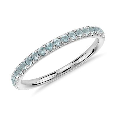 march aquamarine marine wedding rings Riviera Pav Aquamarine Ring in 14k White Gold 1 5mm