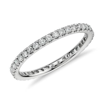 riviera petite pave eternity diamond ring 14k white gold infinity diamond wedding band Riviera Pav Diamond Eternity Ring in 14k White Gold 1 2 ct tw