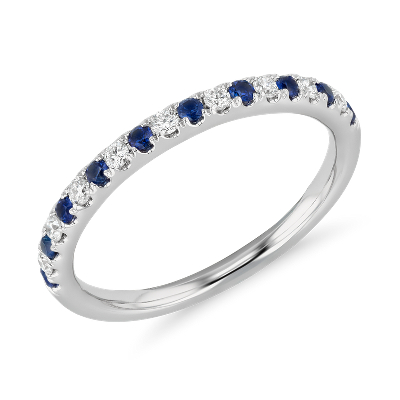 top ten womens wedding rings women wedding rings Riviera Pav Sapphire and Diamond Ring in 14k White Gold 1 5mm