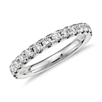 scalloped pave diamond wedding band platinum platinum wedding band Scalloped Pav Diamond Ring in Platinum 1 2 ct tw