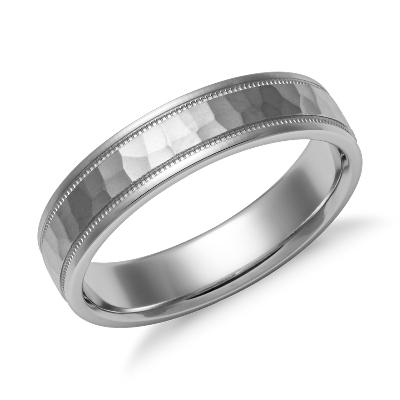 hammered milgrain comfort fit ring platinum tungsten hammered wedding band Need Help