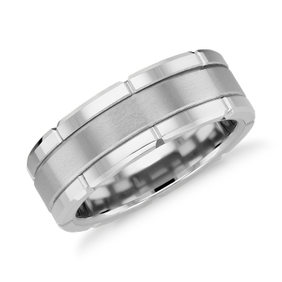 white tungsten carbide wedding ring tungsten carbide wedding bands Link Wedding Band in White Tungsten Carbide 8mm