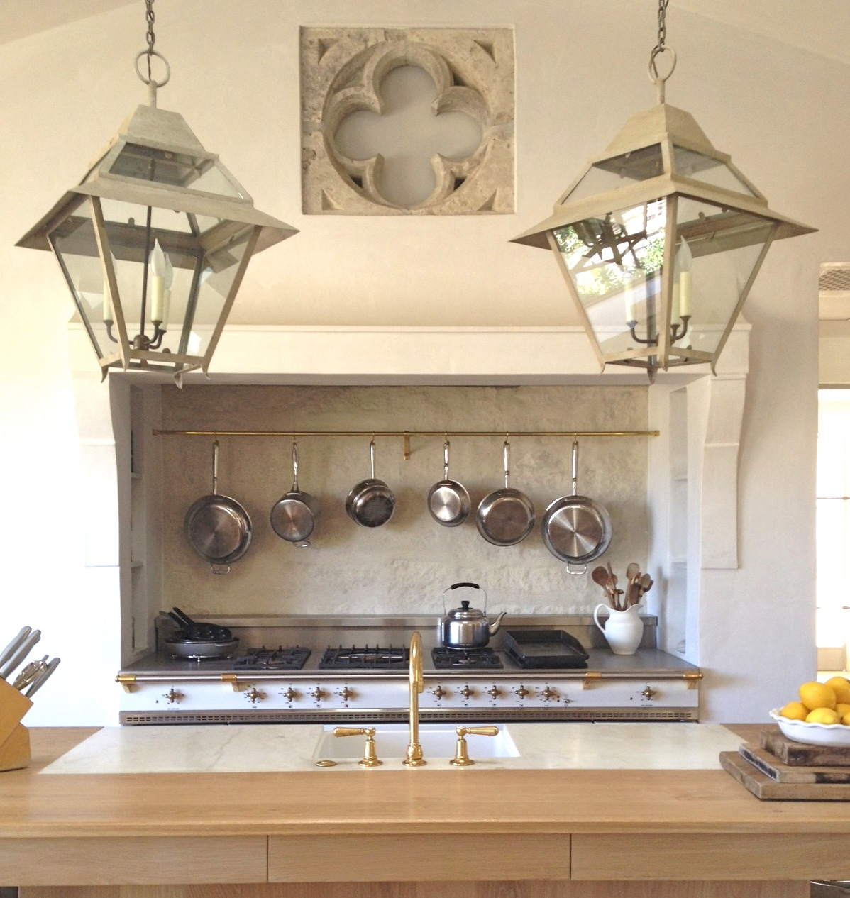 patina farm update kitchen details unlacquered brass kitchen faucet The kitchen design is working very well I don t miss having upper cabinets and enjoy the view of the garden every day