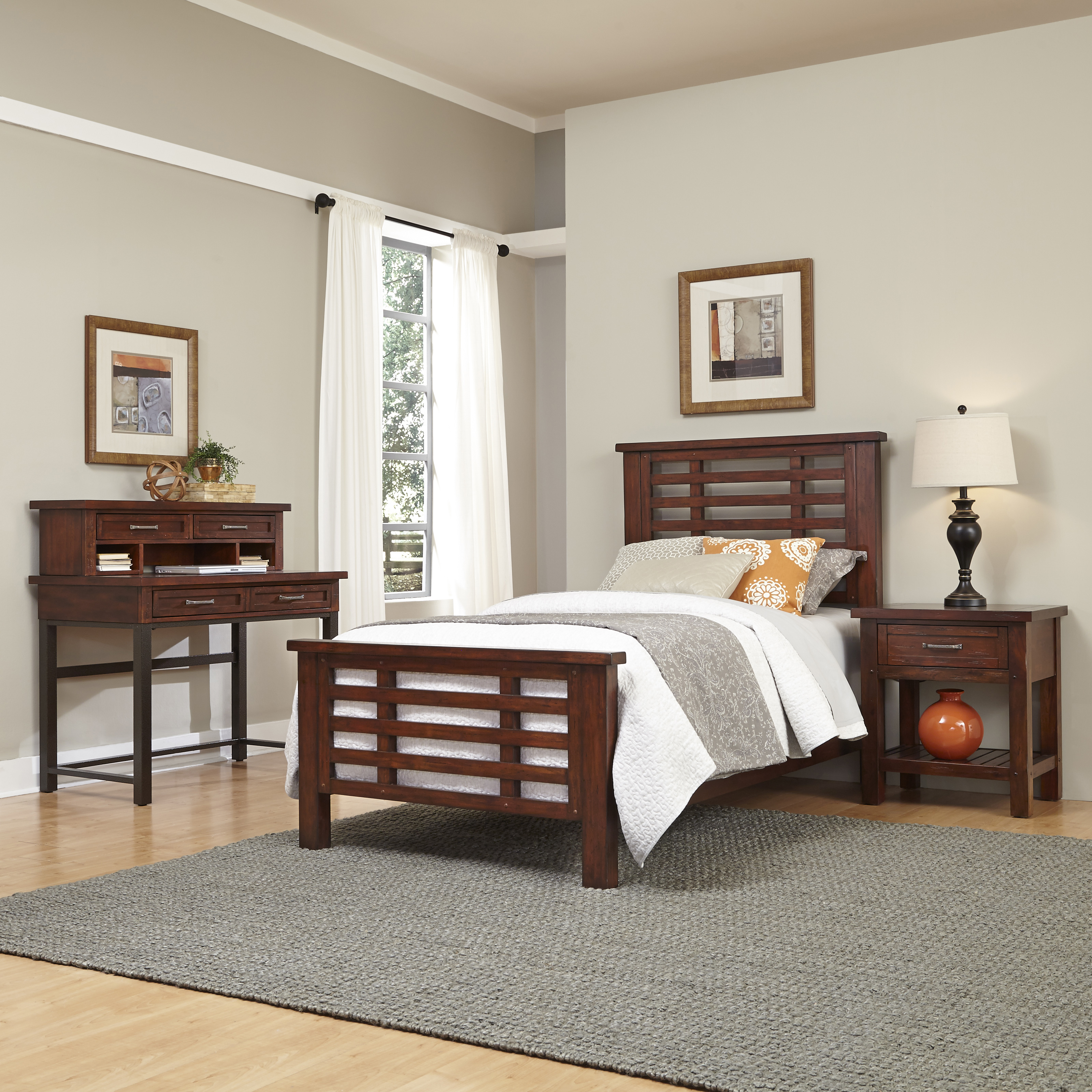 Home Styles Cabin Creek Twin Bed Night Stand and Student ...