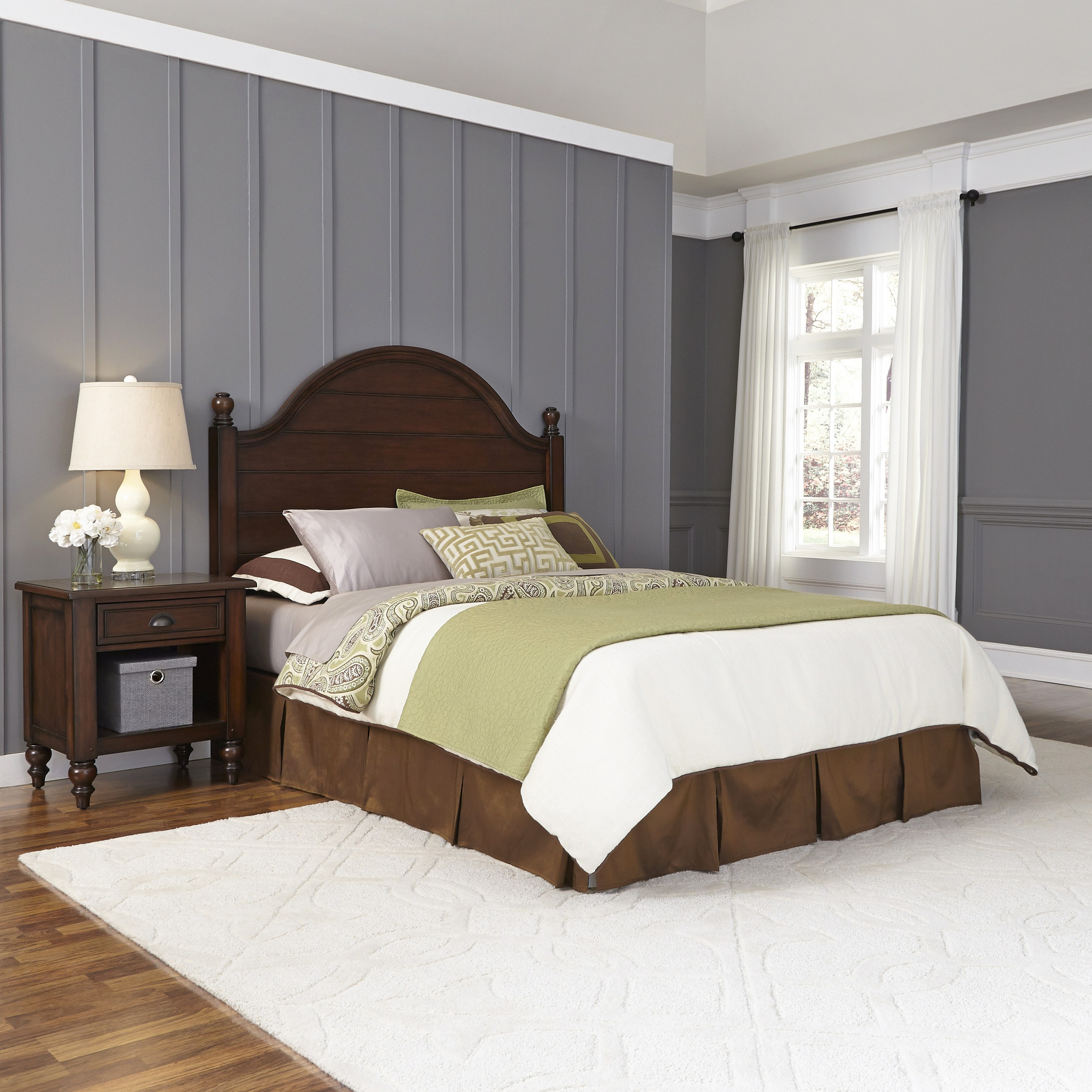 Home Styles Country Comfort Queen Headboard and Night Stand